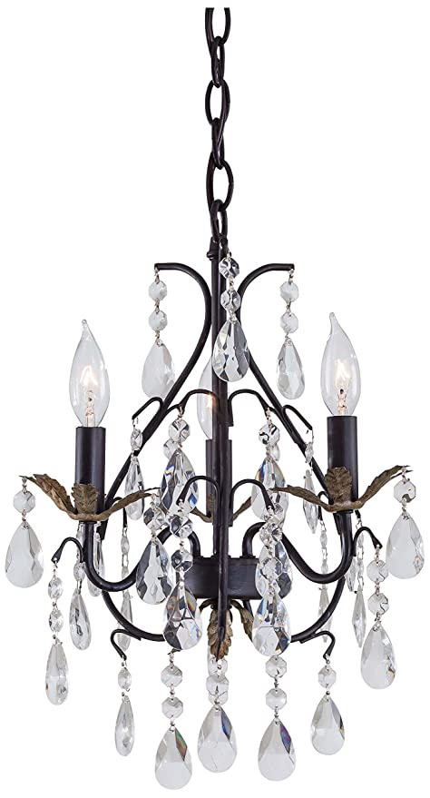 Minka Lavery 3122 301 3 Light Mini Chandelier Castlewood Walnut With Silver Highlights Finish