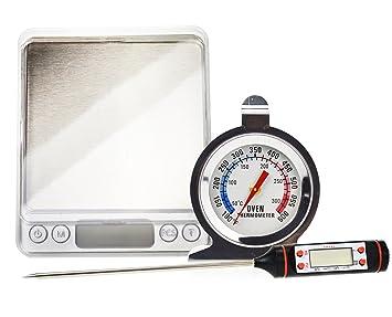 Juego de termómetro de cocina con alimentos escala de bolsillo digital – incluye termómetro digital,