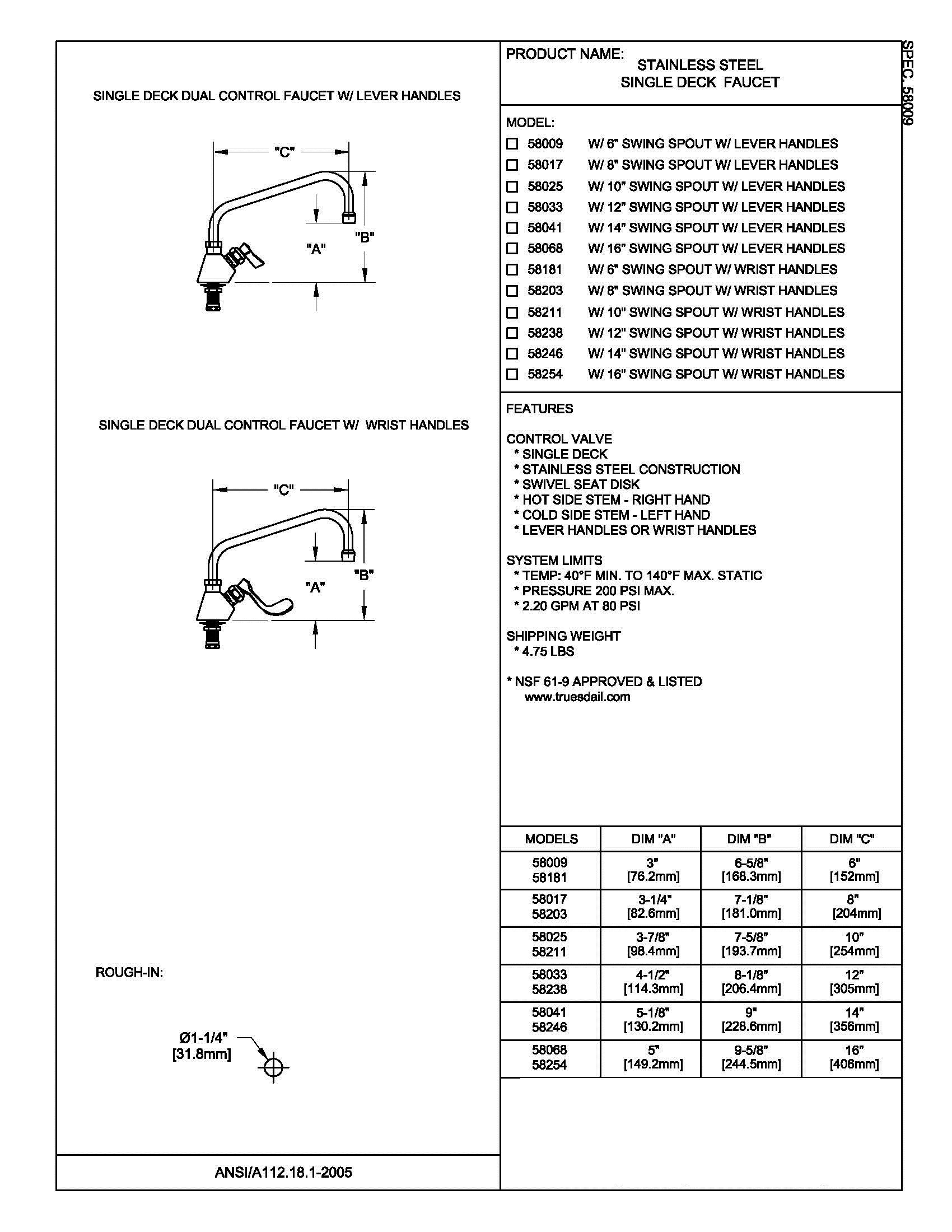 Fisher 58017 SS FAUCET SD 08SS