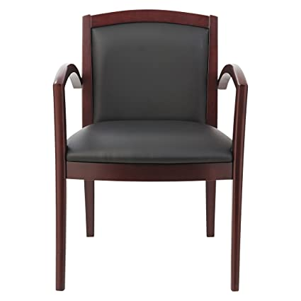Alera ALERL5219M Reception Lounge 500 Series Arch Solid Wood Chair,  Mahogany/Black Leather