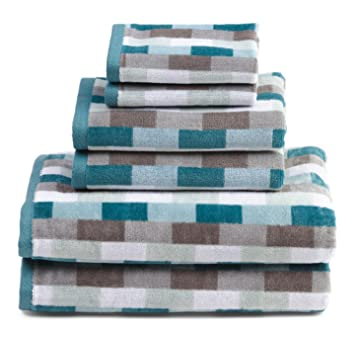 Hotel Vendome Geometric Striped Towel Set 6 Pieces Gray White Aqua Teal Bath  Bathroom Towels