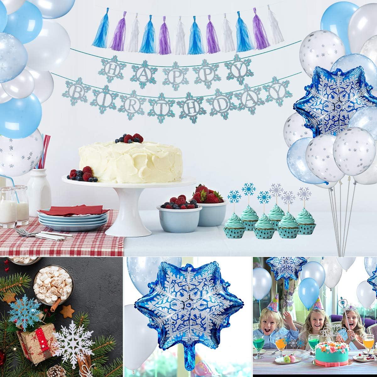 Blu Festa Ghirlanda di Palloncini Cupcake Topper Banner per Bambini Compleanno Decorazione FORMIZON Decorazioni Feste Compleanno Fiocchi Neve Decorazioni per Feste di Compleanno