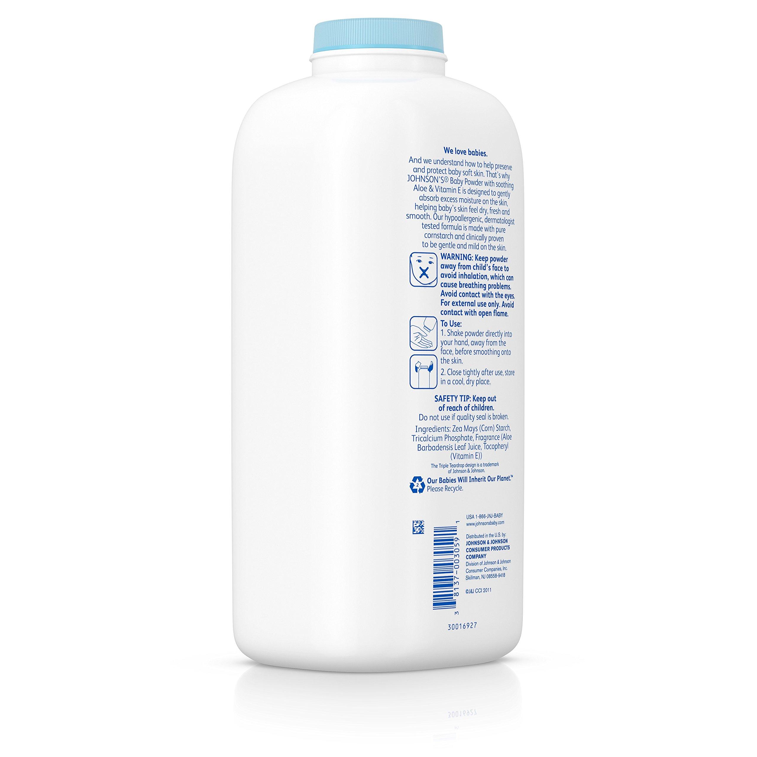 Johnson's Baby Powder With Aloe Vera & Vitamin E, Diaper Rash Protection, 22 Oz. (Pack of 6) by Johnson's Baby (Image #7)