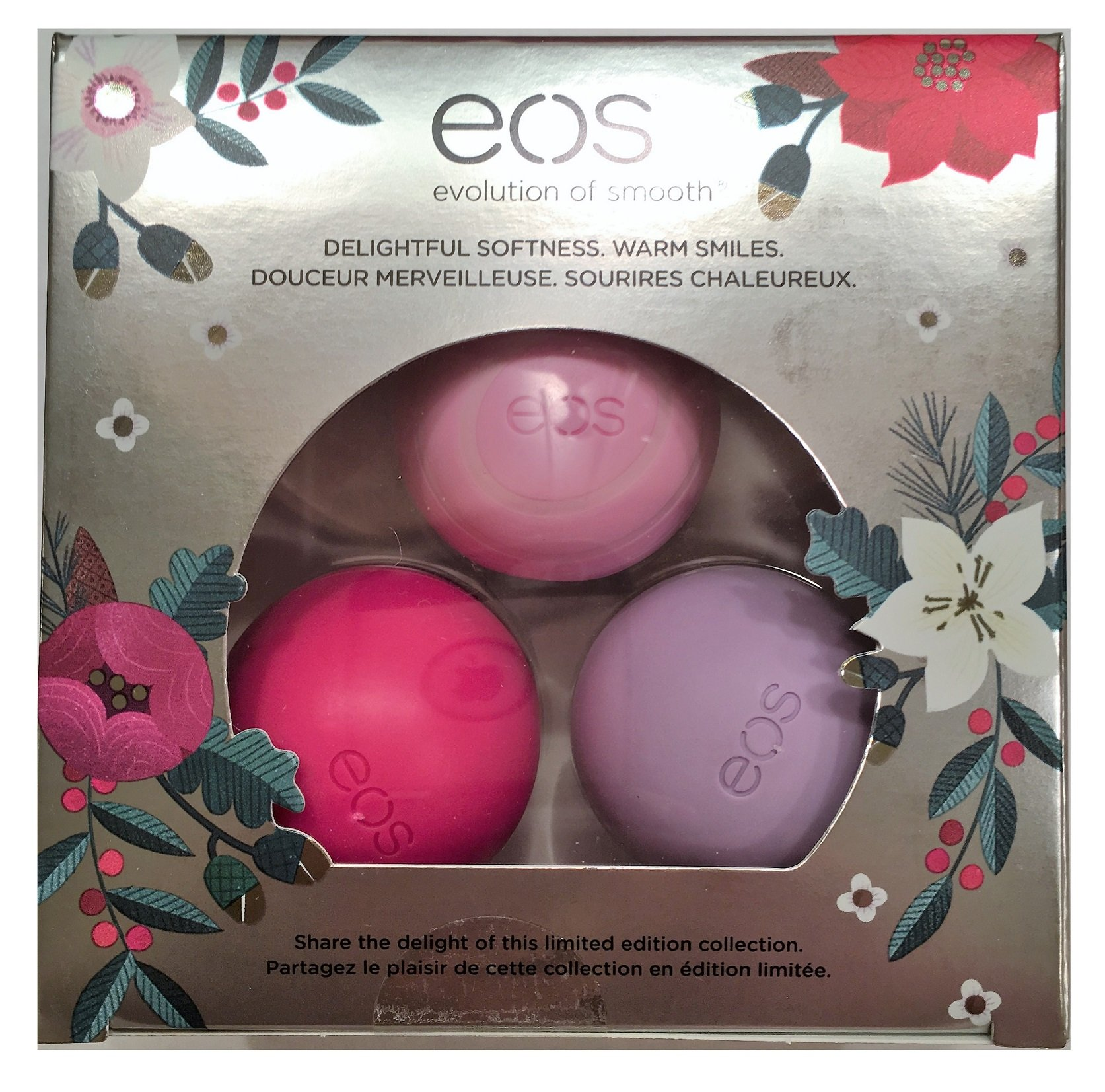 eos 2016 Limited Edition Holiday Lip Balm Sphere collection 3-Pack, Honey Apple, Wildberry, Passion Fruit, Multi Pack