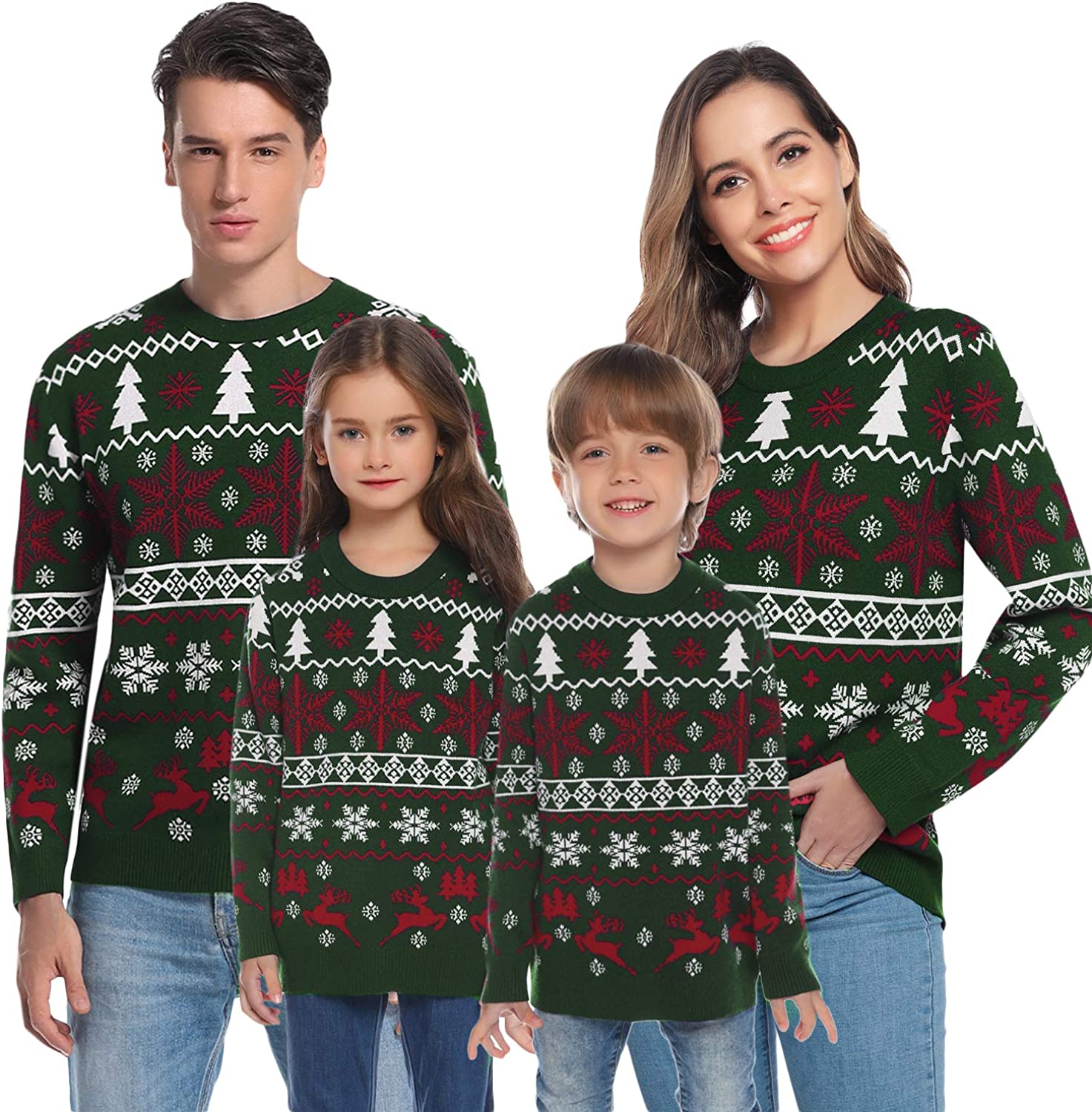 Amazon Com Hawiton Family Matching Ugly Xmas Sweaters Funny Long Sleeve Christmas Reindeer Sweater Festive Pullover Clothing