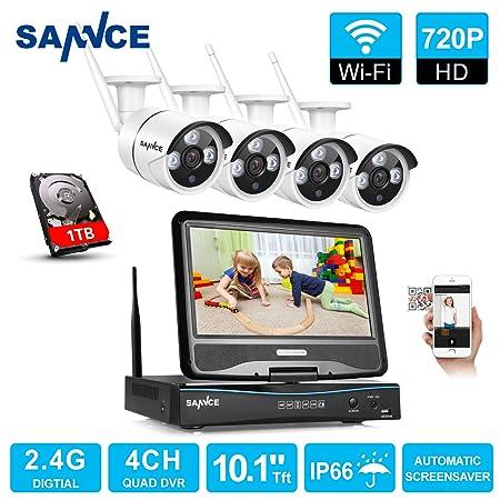 SANNCE Sistema de vigilancia wifi NVR 1080P inalámcrica con ...