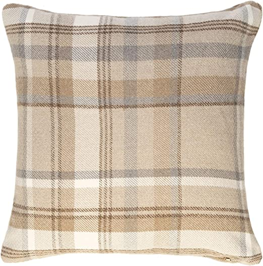 """45CM CUSHION COVERS 2 X TARTAN CHECK WOVEN WOOL LOOK BEIGE PIPED 18/"""""""