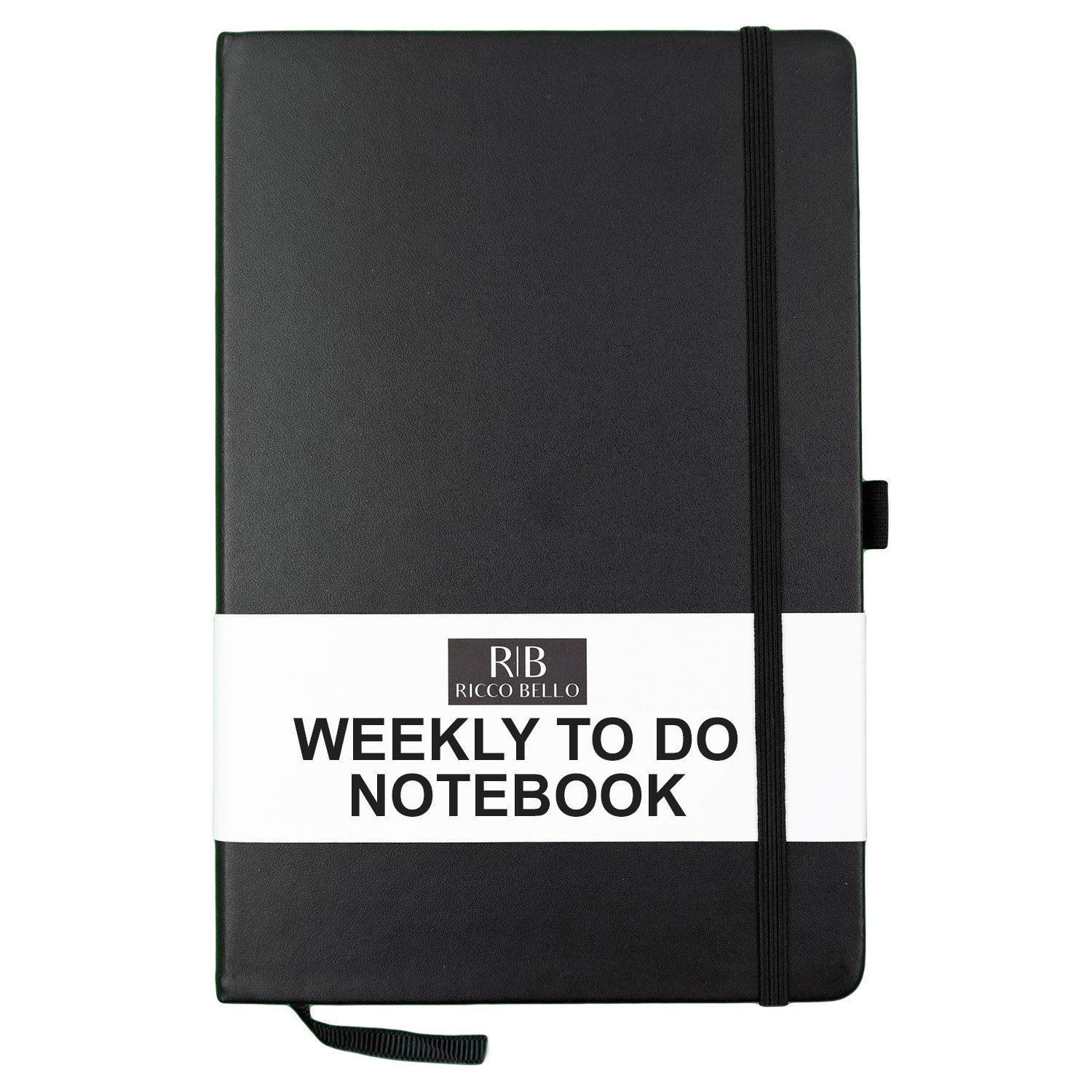 Ricco Bello Weekly to Do Hardcover Notebook with Checklist, 5.7 x 8.4 inches (Black)