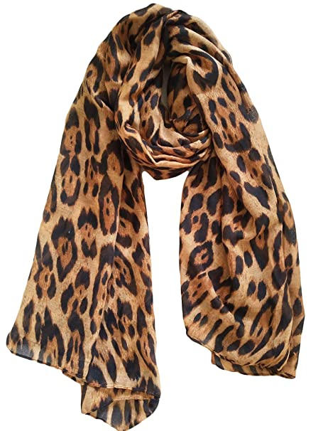 fa35ecd9e Women Large Leopard Animal Print Lightweight Soft-touch Everyday Scarf  90x180cm (Brown)