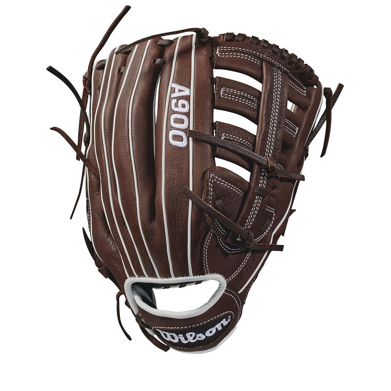 Wilson Guante de béisbol, Lanzamiento de mano derecha, Tamaño 12.5, A900, Marrón/Blanco, WTA09RB18125 Tamaño 12.5