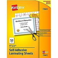 """Avery Self-Adhesive Laminating Sheets, 9"""" x 12"""", Permanent Adhesive, 50 Clear Laminating Sheets (73601)"""