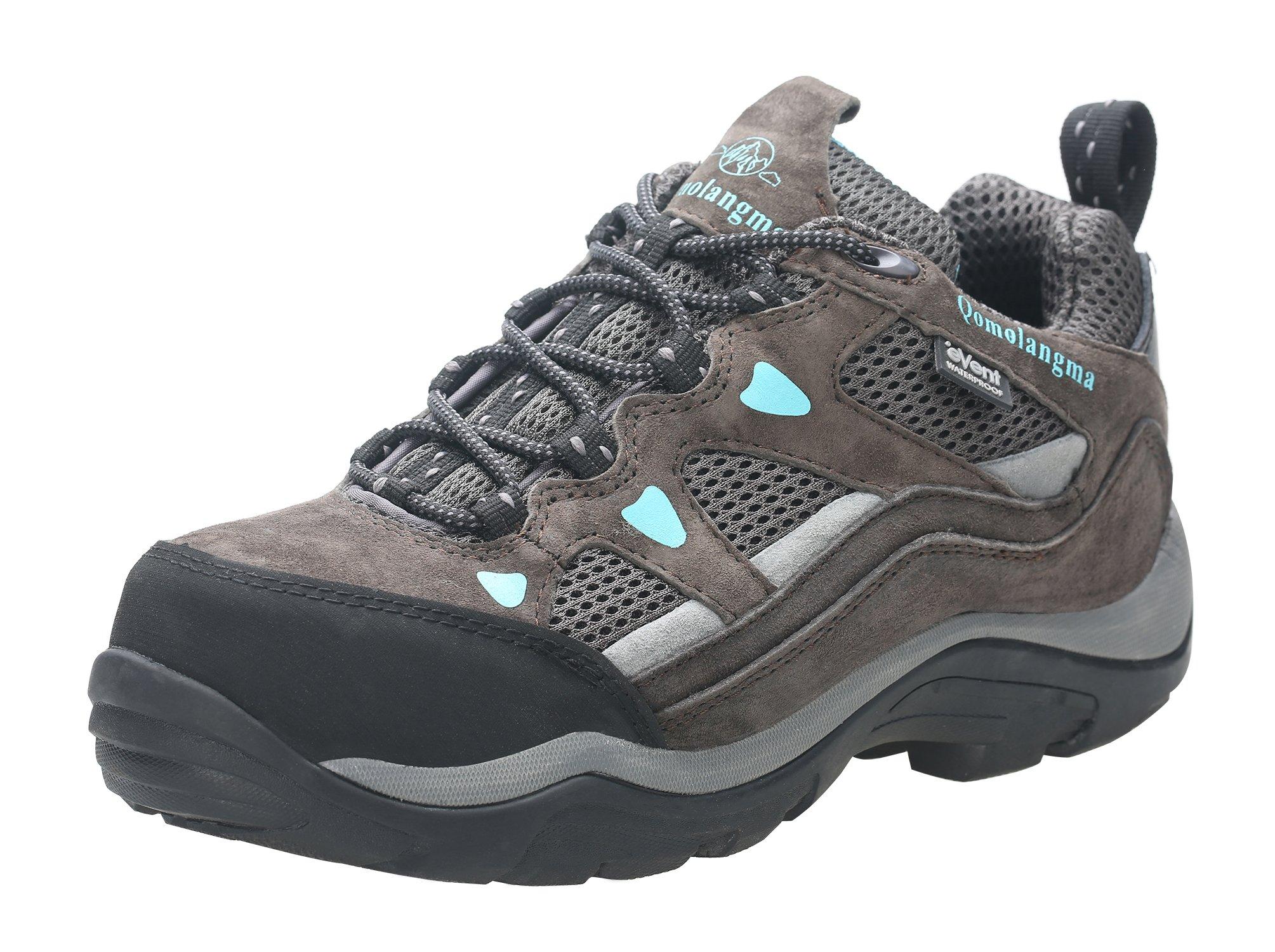 QOMOLANGMA Women's Waterproof Wide Hiking Shoes Anti-Skid Walking Sneaker Running Trekking Outdoor
