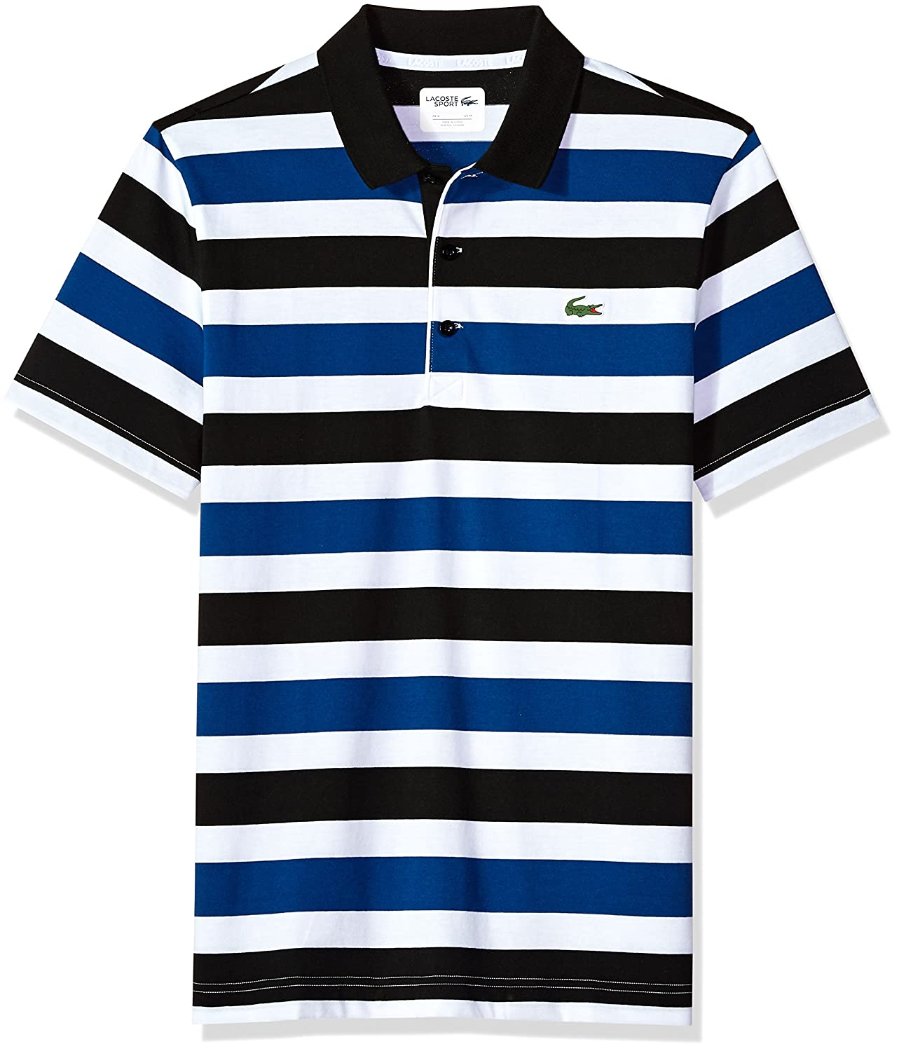 Lacoste Men s Short Sleeve Jersey Raye with Multi Color All Over Stripes  Polo, DH3307 free a9e3731b55b3