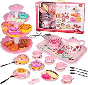 Noetoy Tea Set for Little Girls, Kids Tea Set 41 PCS Pink Tin Tea Party Set with Cake Stand and Dessert Play Food, Princess Tea Party Time & Kids Kitchen Pretend Play