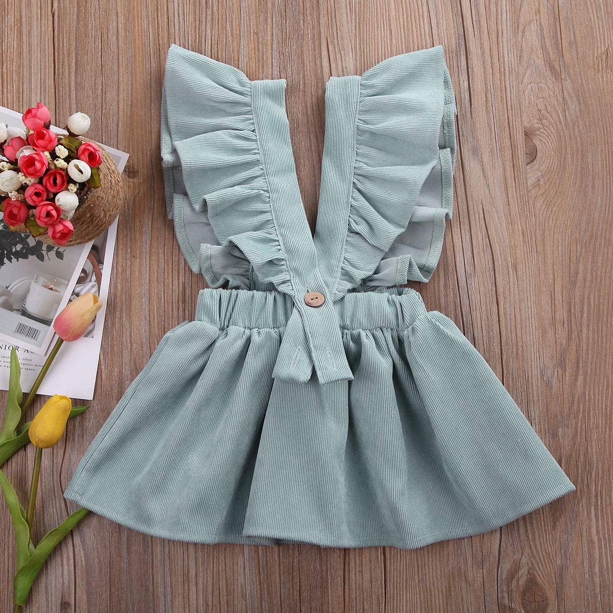 Douhoow Toddler Kids Baby Girls Suspender Skirt Ruffled Strap Sundress Overalls Outfit Clothes