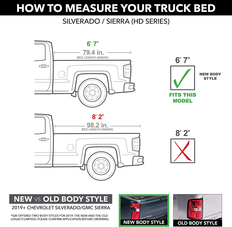 BAK BAKFlip F1 Hard Folding Truck Bed Tonneau Cover 3500 6 10 Bed 772133 Sierra 2500 Fits 2020 GM Silverado 82.2