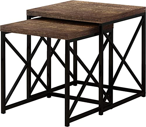 Monarch Specialties TABLE-2PCS SET BROWN RECLAIMED WOOD BLACK NESTING TABLE
