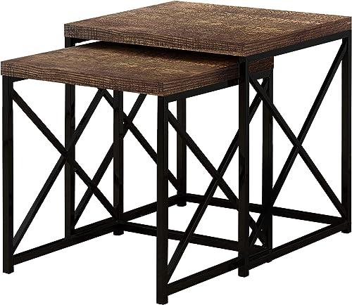 Amazon Brand Rivet Mid-Century Nesting Metal Side Table, Set of 2, Brass and Walnut
