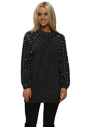 dfe4dce732f Voyelles Dark Grey Pearl Embellished Knitted Jumper One Size Dark Grey   Amazon.co.uk  Clothing