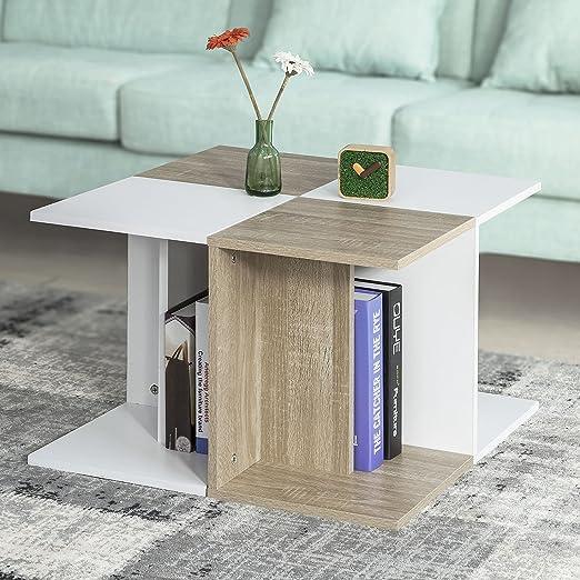 SoBuy® Mesa de centro cuadrada con 4 compartimentos,4 mesas ...