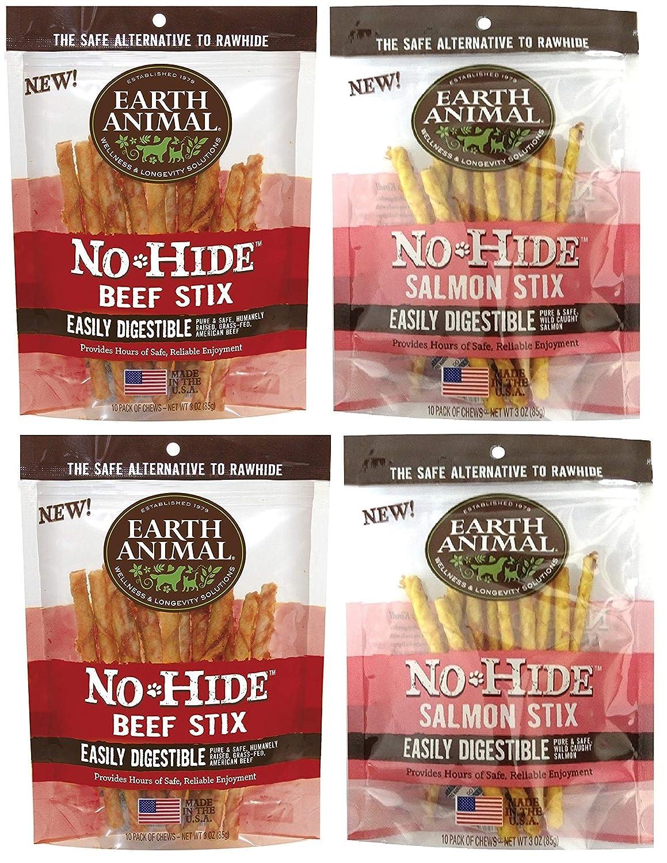 Earth Animal No-Hide Stix, 4 Bag Combo Pack, Beef and Salmon Dog Chews
