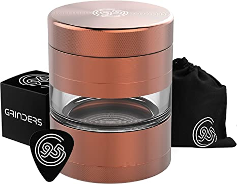 Copper//Rose Gold Includes REMOVABLE Stainless Steel Screen//Pollen Scraper//Travel Bag 9TO5 GRINDERS Large 2.5 Inch 5 Piece Herb Grinder with Best Pollen Catcher /& Jar