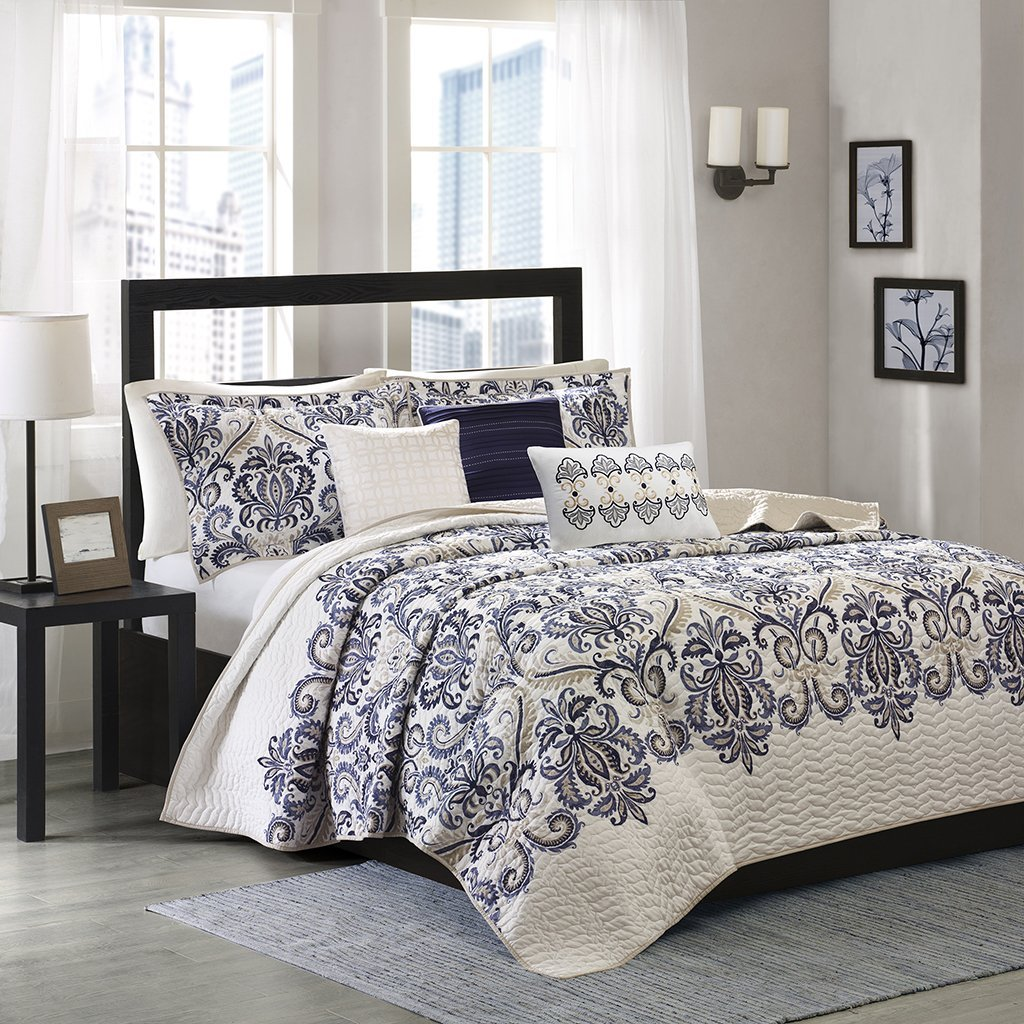 Madison Park Cali Full/Queen Size Quilt Bedding Set - Navy, Ivory, Paisley Damask – 6 Piece Bedding Quilt Coverlets – Ultra Soft Microfiber Bed Quilts Quilted Coverlet JLA Home MP13-1521