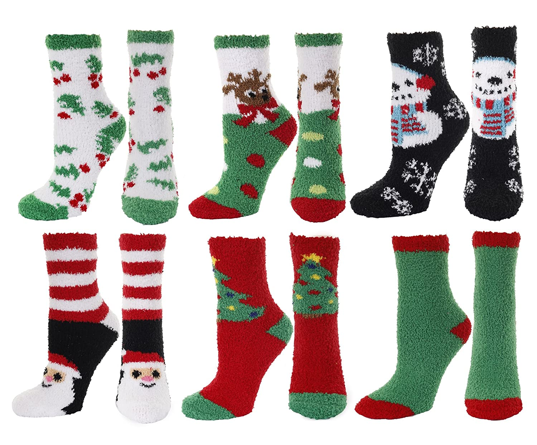 Gilbins Teen Girls & Women's Fuzzy Cozy Christmas Holiday Plush Socks (6 Pairs)