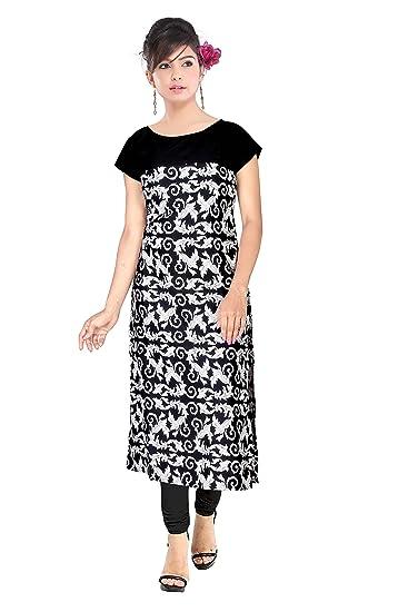 308b24f725b Florro Women s Indo Western Clothing Latest Designer Printed White and  Black Crepe Long Kurti Round Neck Straight Casual Wear Kurta For Girls   Amazon.in  ...