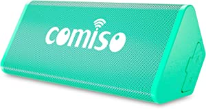 COMISO Portable Bluetooth Speaker, 12W IPX7 Waterproof, Bluetooth 4.2 Speaker with 20-Hour Playtime, Support TF Card, Dual-Driver with Built-in Mic, Compatible with iPhone, Samsung, and iPad