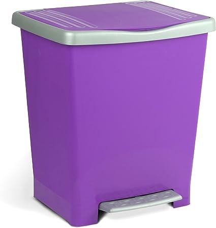 Oferta amazon: Tatay Millenium Cubo de Basura con Apertura Automática a Pedal o Manual, Capacidad 25 L, Fabricado en Plástico Polipropileno. Medidas 33,5 x 30 x 39 cm (L x An x Al). Color Lila.