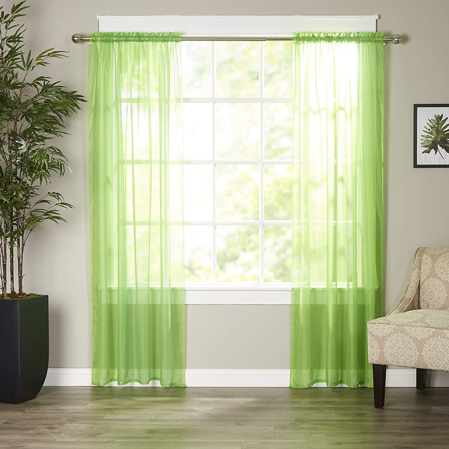 Elegant Comfort Luxury Sheer Curtains, Window Treatment Curtain Panels with Rod Pocket for Kitchen, Bedroom and Living Room (40 x 84-inches Long, Set of 2), Lime