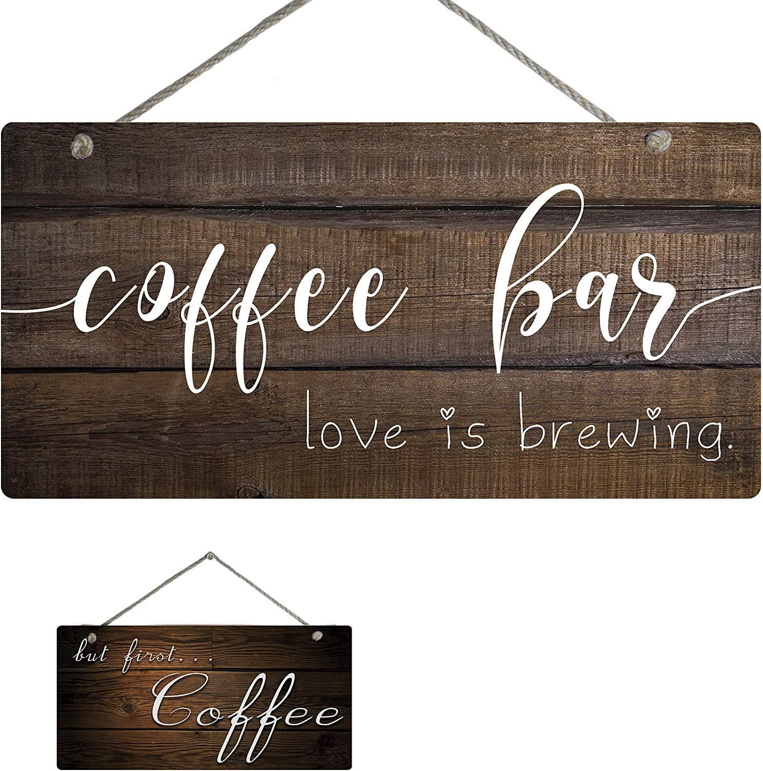 """YINUOWEI Coffee Bar Wall Decor Wood Pattern Plaque Sign, Double Sides Printed, Rustic Hanging Wall Art Sign - Coffee bar Love is Brewing/but First. Coffee, 12""""x6"""""""
