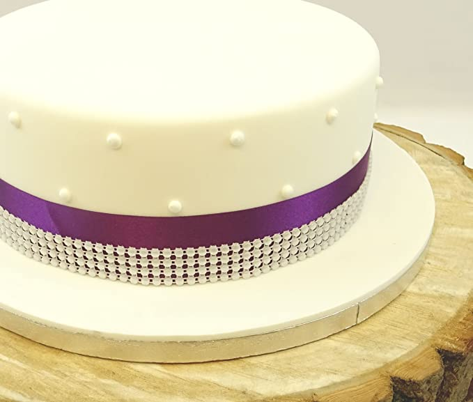1 METRE SATIN RIBBON 35mm & 4 ROW PEARL TRIM CAKE DECORATION WEDDING ...