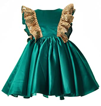mrprettys green gold sequin flower girl dress girls party christmas dress - Green Christmas Dress