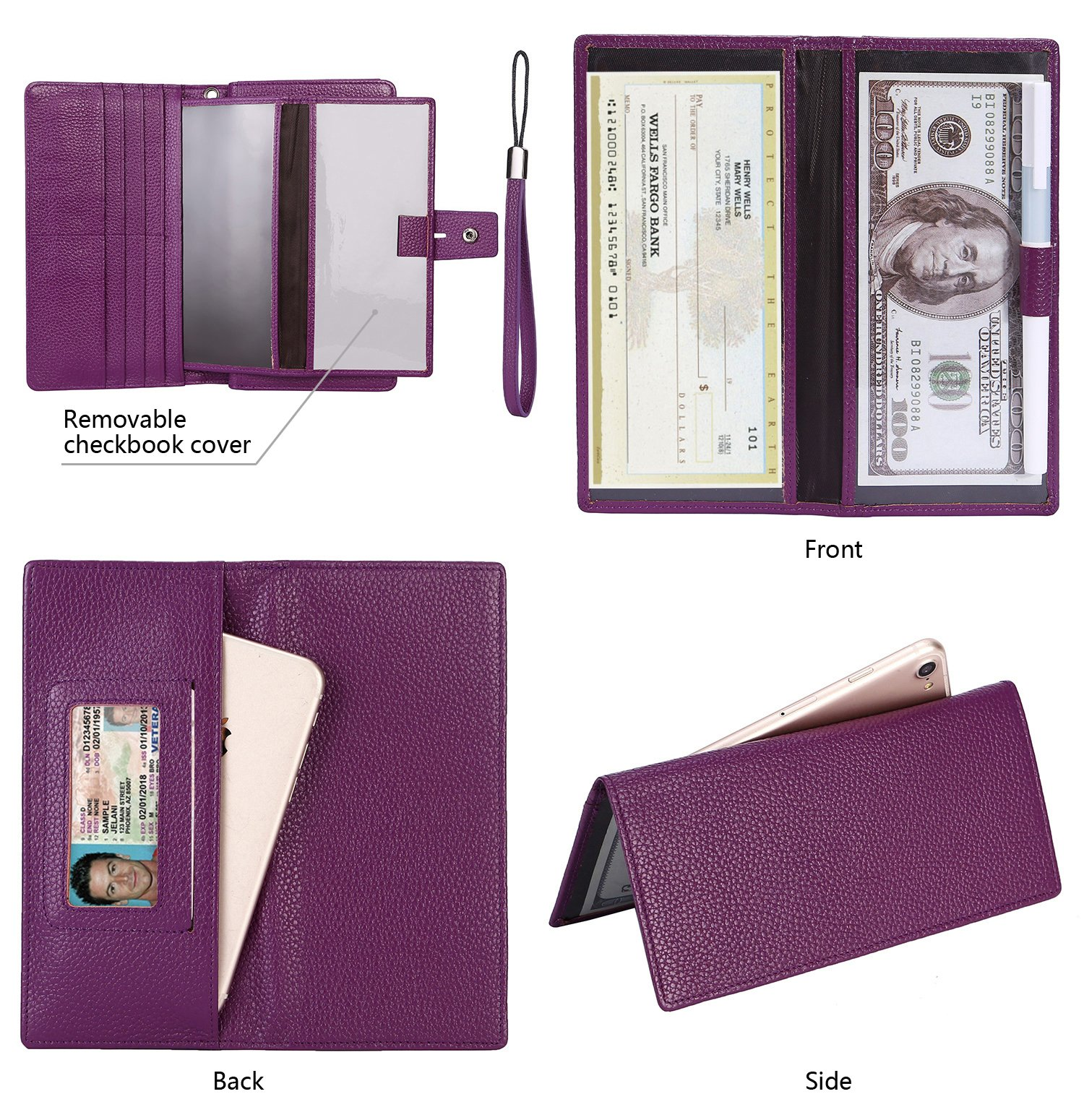 AINIMOER Women's Big RFID Blocking Leather Zip Around Wallets for Womens Clutch Organizer Checkbook Holder Large Travel Purse(Lichee Purple) by AINIMOER (Image #5)