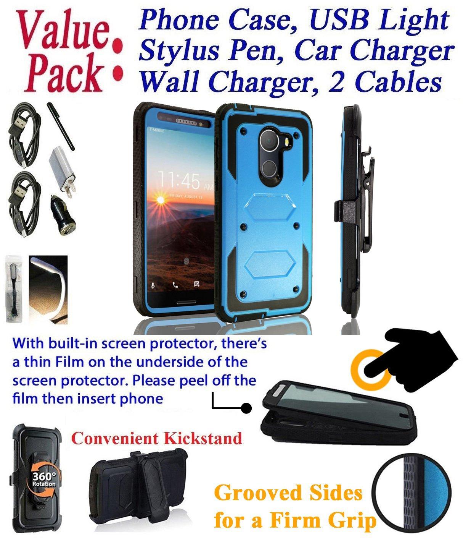 Value Pack + for 5.5'' T Mobile REVvL REWL Alcatel Walters case Phone Case 360° Cover Screen Protector Belt Holster Kick Stand Armor Shock Bumper (Blue)