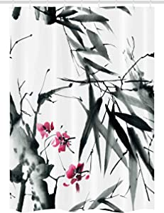 Ambesonne Japanese Stall Shower Curtain, Natural Bamboo Stems Cherry Blossom Japanese Inspired Folk Print, Fabric Bathroom Decor Set with Hooks, 54