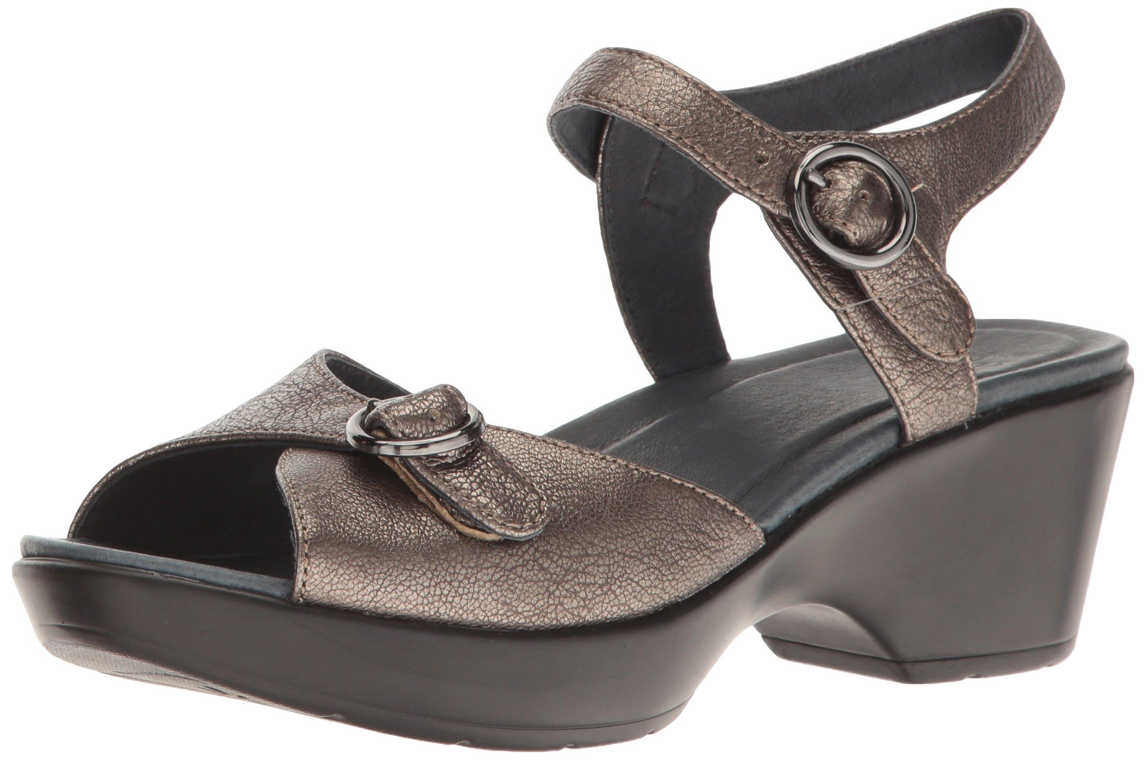 Dansko Women's June Flat Sandal, Pewter Nappa, 36 EU/5.5-6 M US