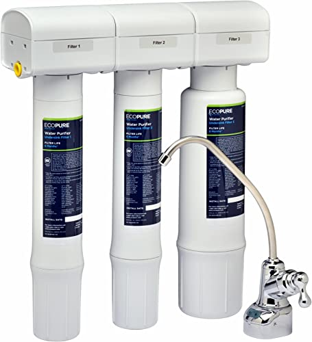 EcoPure Purifier Filtration System ECOP40 NSF Certified Safe Drinking Water Right from Your Kitchen Sink, White