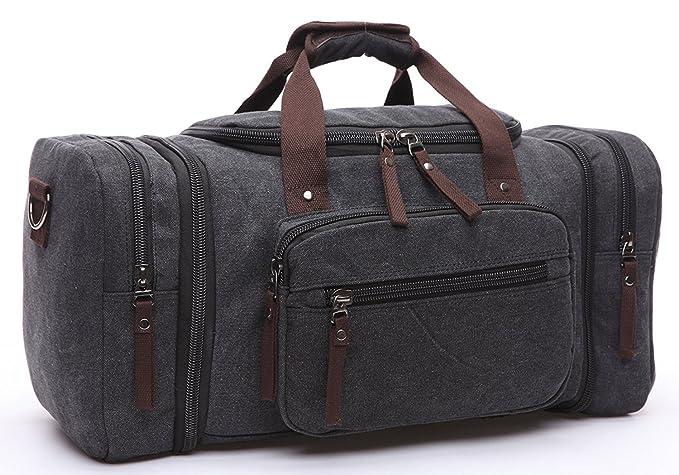 90573f85e2f565 BAOSHA HB-21 Oversized Canvas Holdall Overnight Weekend Bag Travel Duffle  Bag Weekender Bags Sports