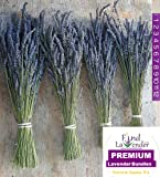 """Findlavender - Lavender Dried Premium Bundles - 18"""" to 22"""" - 130 to 150 Stems - Can Be Used for any Ocassion - Perfect for Your Wedding - 4 Bundles Pack"""