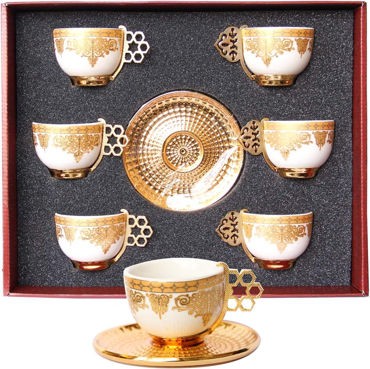 3 pcs turkish arabic greek gold porcelain espresso coffee cup /& saucer /& spoon