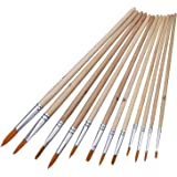 Mudder 12 Pieces Artist Paint Brushes Set Paint Brush Acrylic Painting Brush for Watercolor Oil Painting, Wood Color