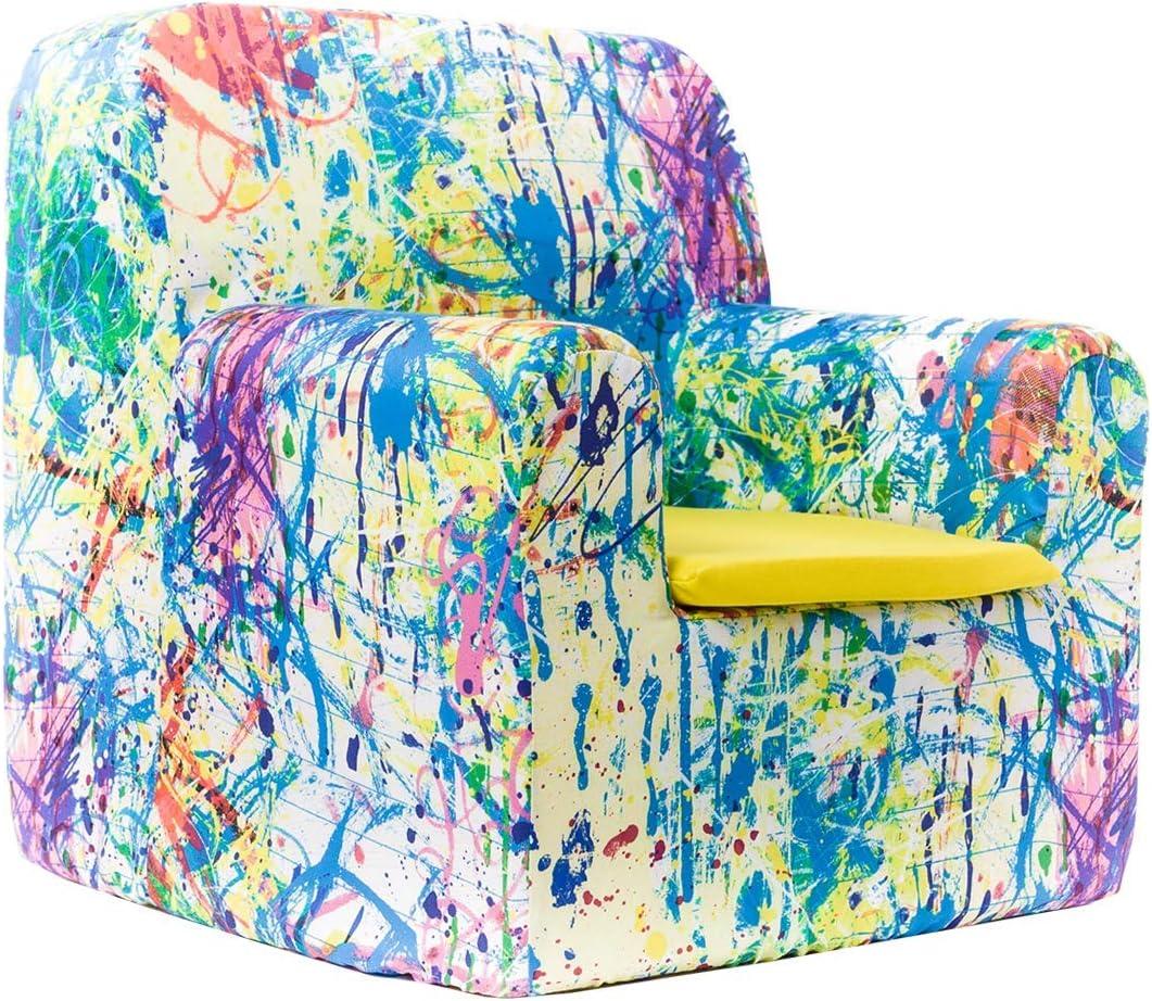 SLEEPAA Sillon bebe 1-4 años Desenfundable Lavable Resistente Seguro Ligero Cómodo Decoracion muebles niños Fabricado en España 40x40x42 cm (Pollock)