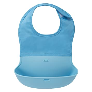 Amazon.com: OXO Tot Waterproof Silicone Roll Up Bib with Comfort-Fit Fabric Neck, Aqua: Baby