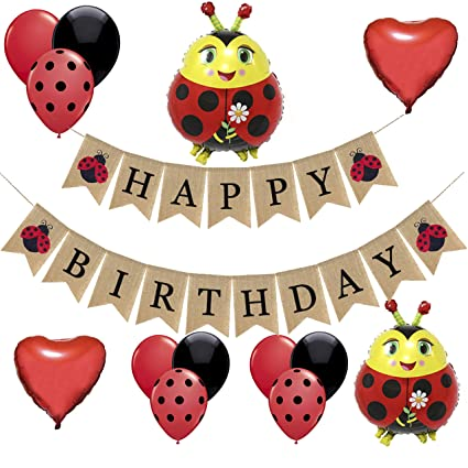Ladybug Birthday Party Decorations-1 Happy Birthday Burlap Banner, 2 Ladybug and 2 Heart Shaped Mylar Balloons,16 Black Red Dot Latex Balloons,Lady ...