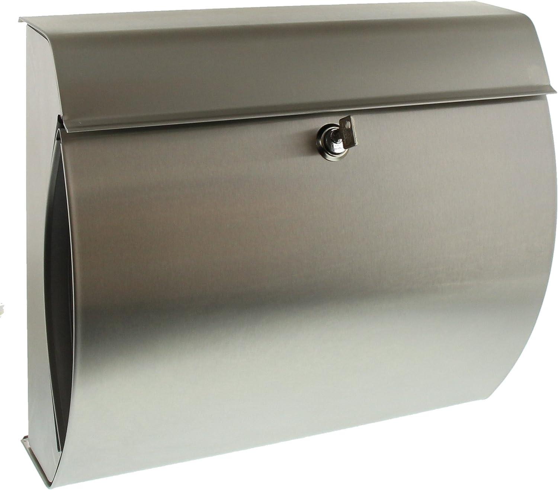 BURG-WÄCHTER Verona 3844 ES Buzón de acero inoxidable con portaperiódicos integrado, Acero