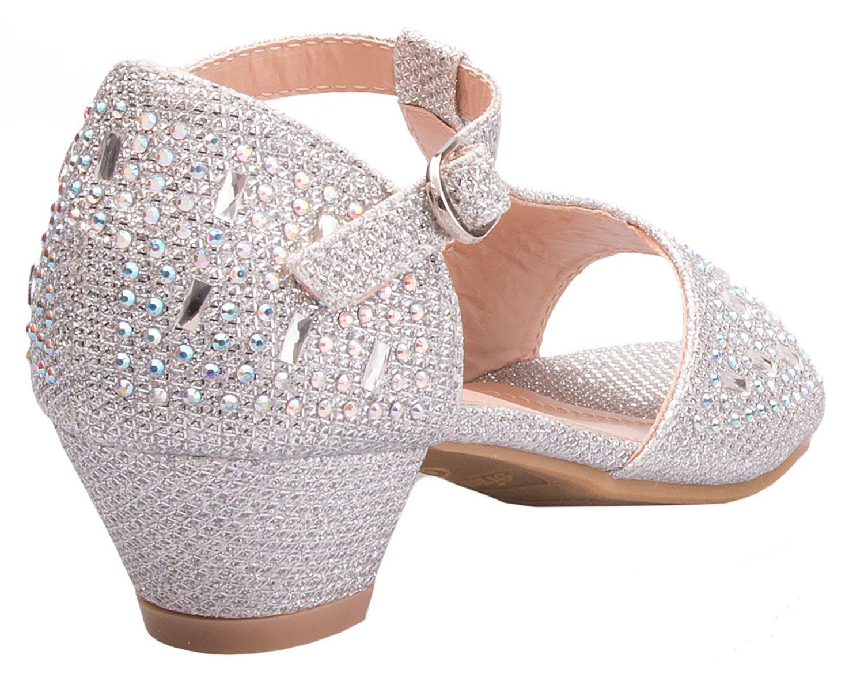 OLIVIA K Girls Glitter And Rhinestone Open Toe Wedge Heel (Toddler/ Little Girl) by OLIVIA K (Image #3)