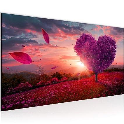Bilder Herbst Baum Herz Wandbild 100 x 40 cm Vlies - Leinwand Bild XXL  Format Wandbilder Wohnzimmer Wohnung Deko Kunstdrucke Violett 1 Teilig -  Made ...